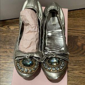 Miu miu ballerina shoes with crystals size 38